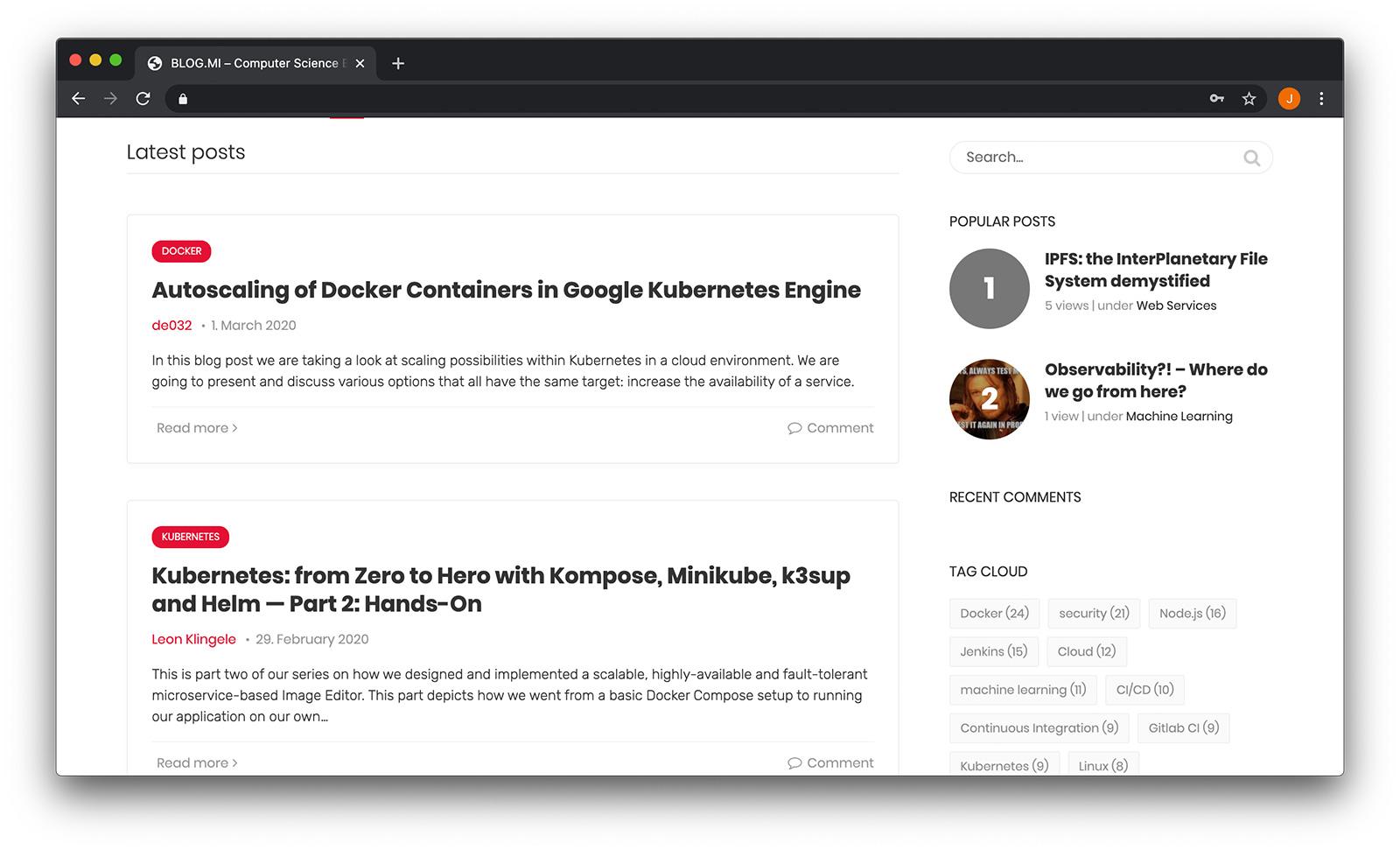 MI Blog Screenshot