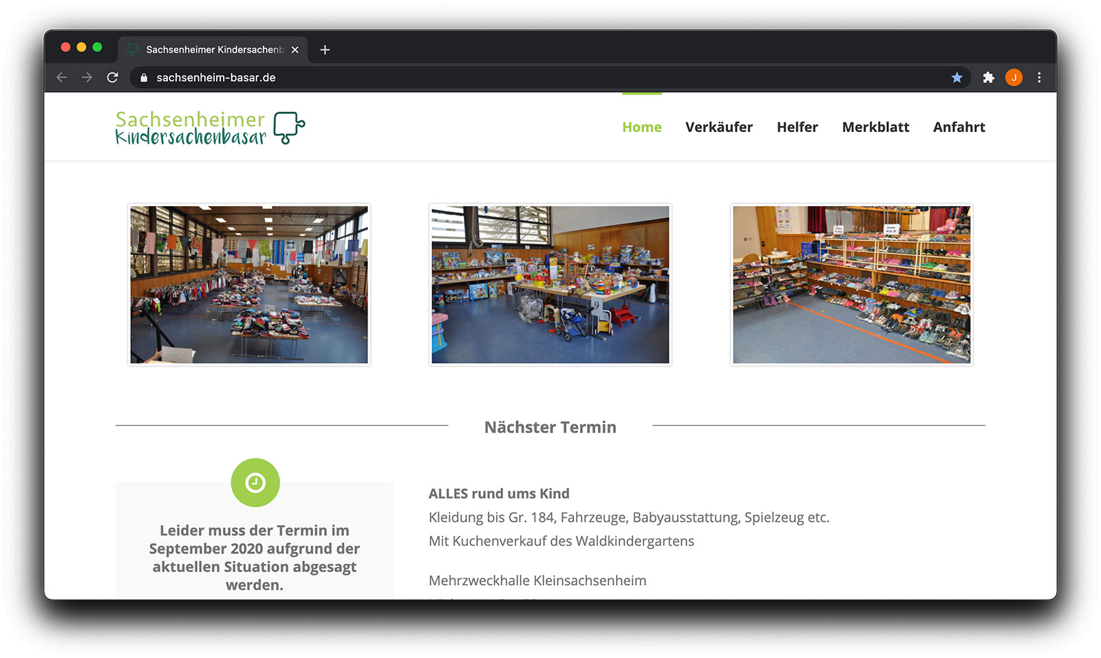 Sachsenheim Kindersachenbasar Screenshot